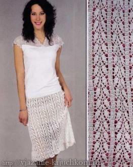 Белая вязаная юбка крючком