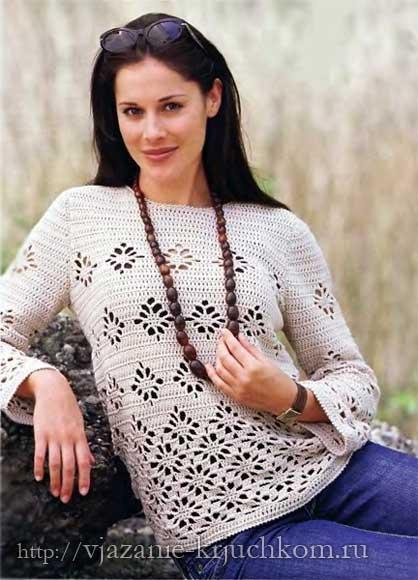 Вяжем крючком пуловер. Схемы вязания и описание