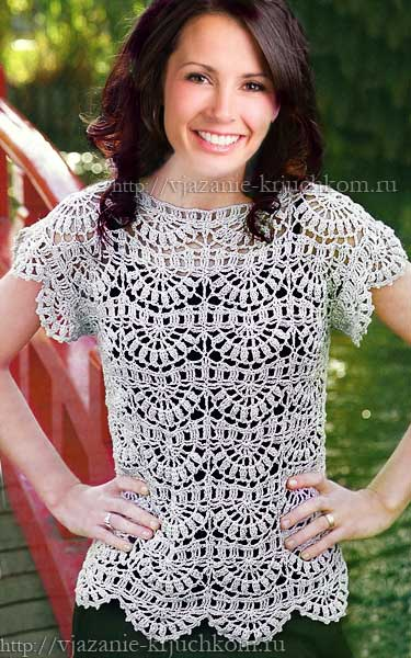 Вязанные кофточки крючком для женщин схемы на лето
