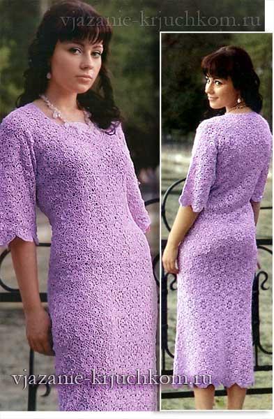 Ажурное вязаное платье цветочным узором
