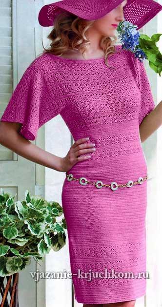 Элегантное вязаное платье со схемами