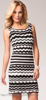 Черно-белое платье вязанное крючком