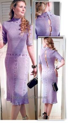 Сиреневое вязаное платье со схемами