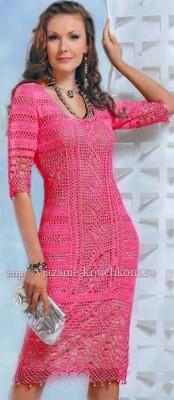 Вязание платья филейные узоры