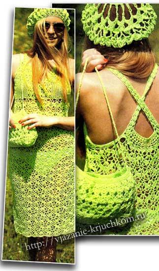 Вязание платья ажурным узором