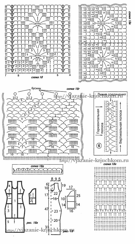 Схемы вязания крючком платья