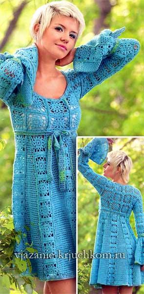 Вязаное платье крючком из мотивов схемы